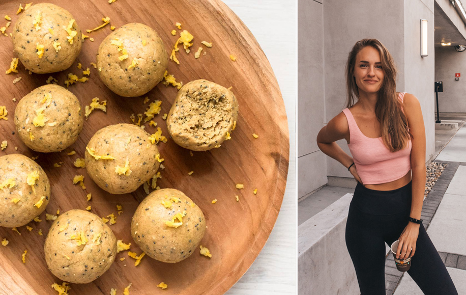 Image of the protein balls and Alexandra Andersson (Fivesec health)